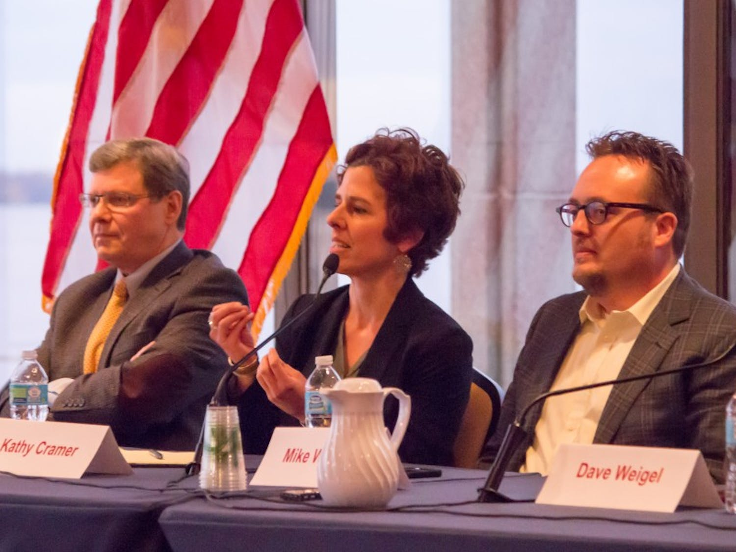 Radio host Charlie Sykes and UW-Madison professors Kathy Cramer and Michael Wagner headlined a panel Wednesday on the aftermath of the 2016 election.
