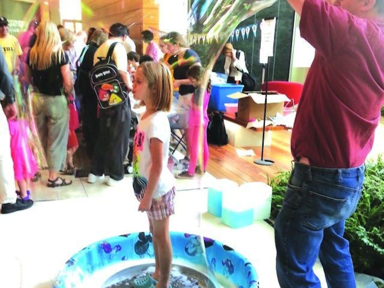 Wisconsin Science Festival - Girl in bubble