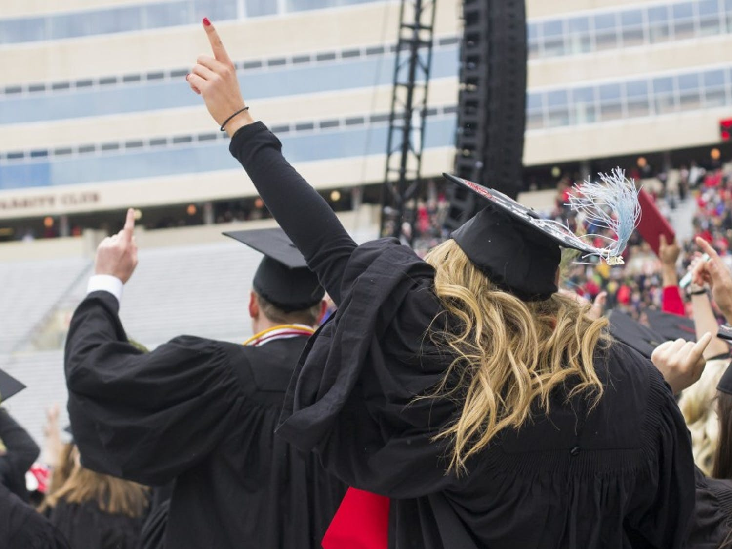 The class of 2016 celebrated their graduation at Camp Randall Stadium. Seahawks quarterback and former Badger Russell Wilson gave the Commencement speech.