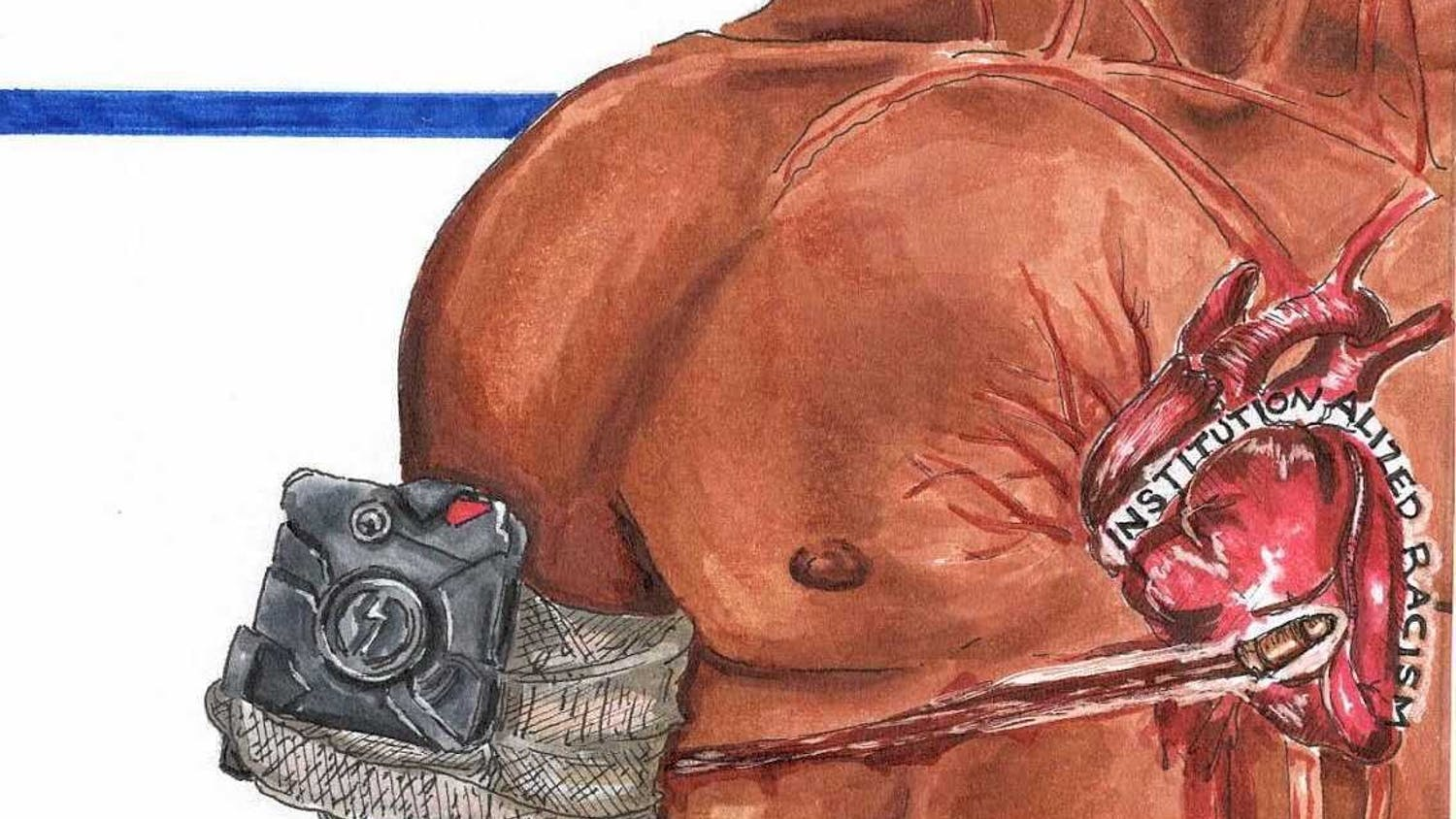 """Graphic displaying a man shot with in the heart with a bullet that says """"institutionalized racism""""."""