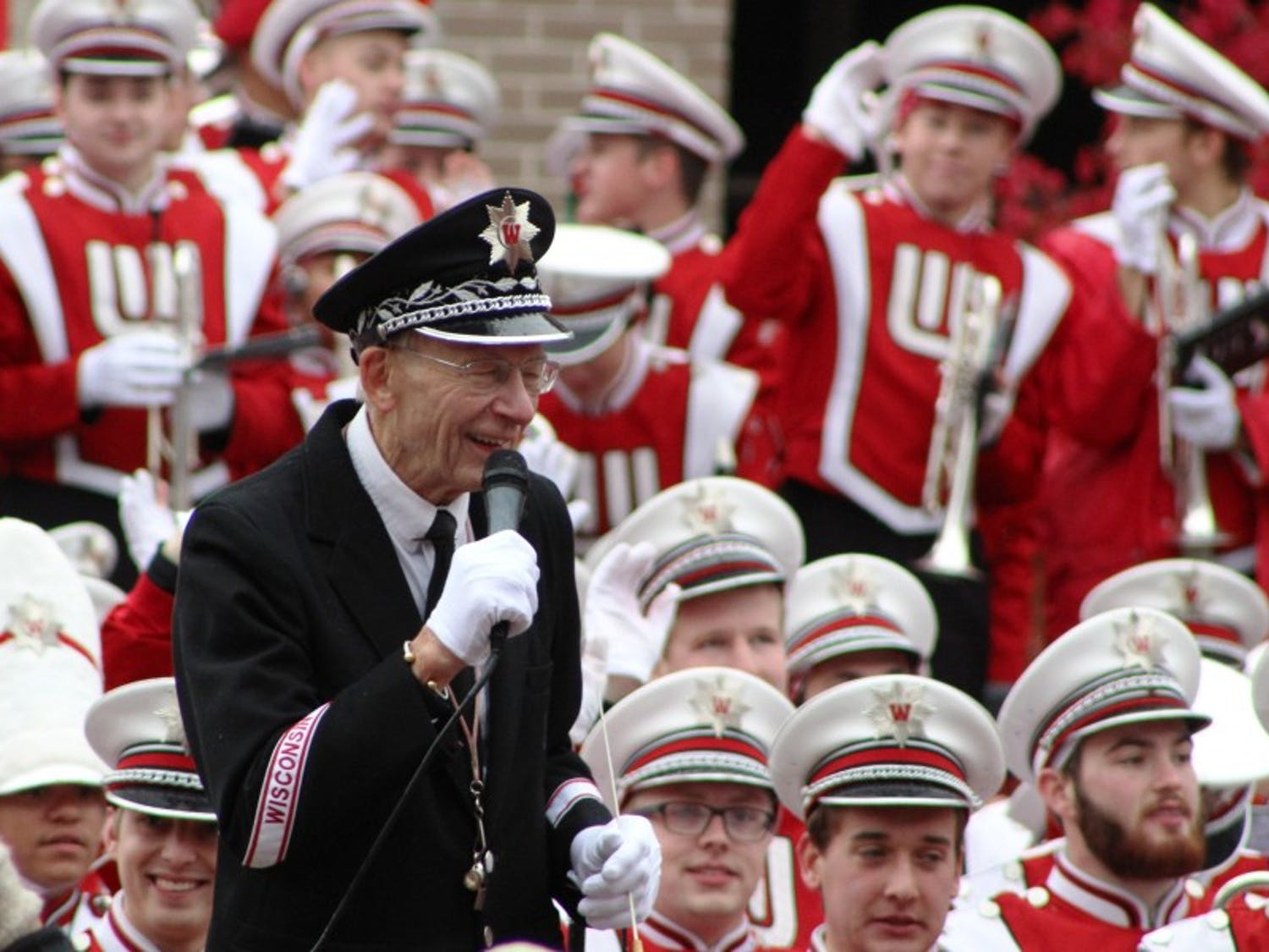 Director of Bands Mike Leckrone stands in front of his marching band for the last time after a career that has lasted half a century.