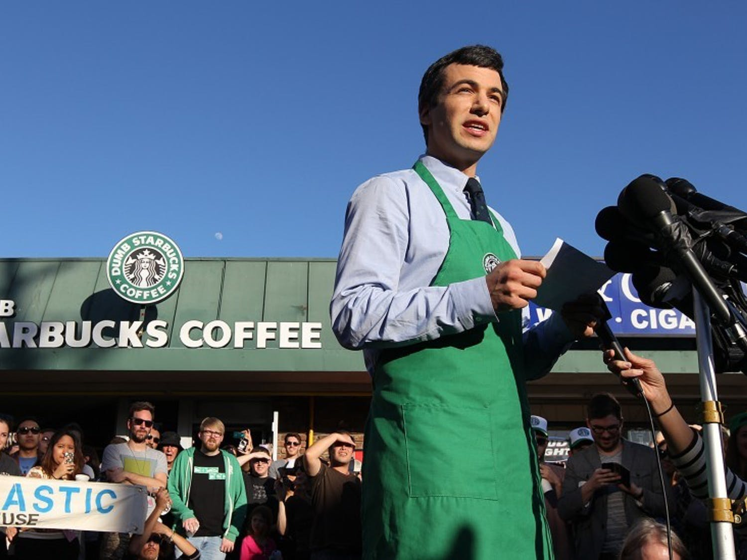 "Nathan Fielder stars in the Comedy Central show ""Nathan For You,"" which follows Fielder lead absurd campaigns for local businesses, like ""Dumb Starbucks."""