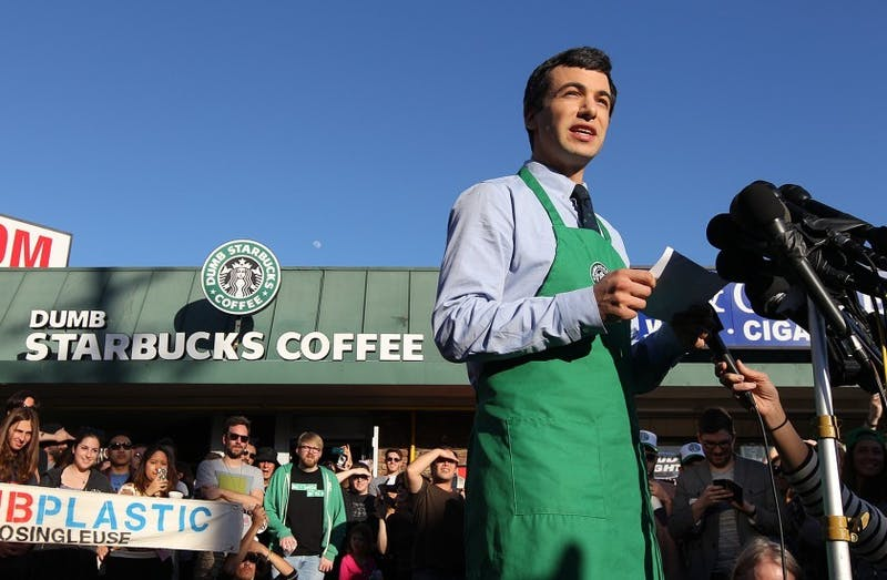 """Nathan Fielder stars in the Comedy Central show """"Nathan For You,"""" which follows Fielder lead absurd campaigns for local businesses, like """"Dumb Starbucks."""""""