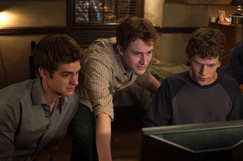 "Jesse Eisenberg, Joseph Mazzello and Andrew Garfield star as curious college students in ""The Social Network."""