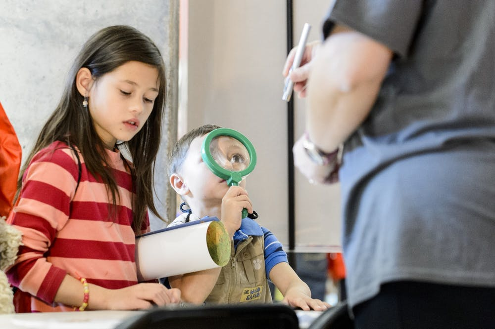 <p>&nbsp;Young attendees magnify the 2015 Wisconsin Science Festival.</p>
