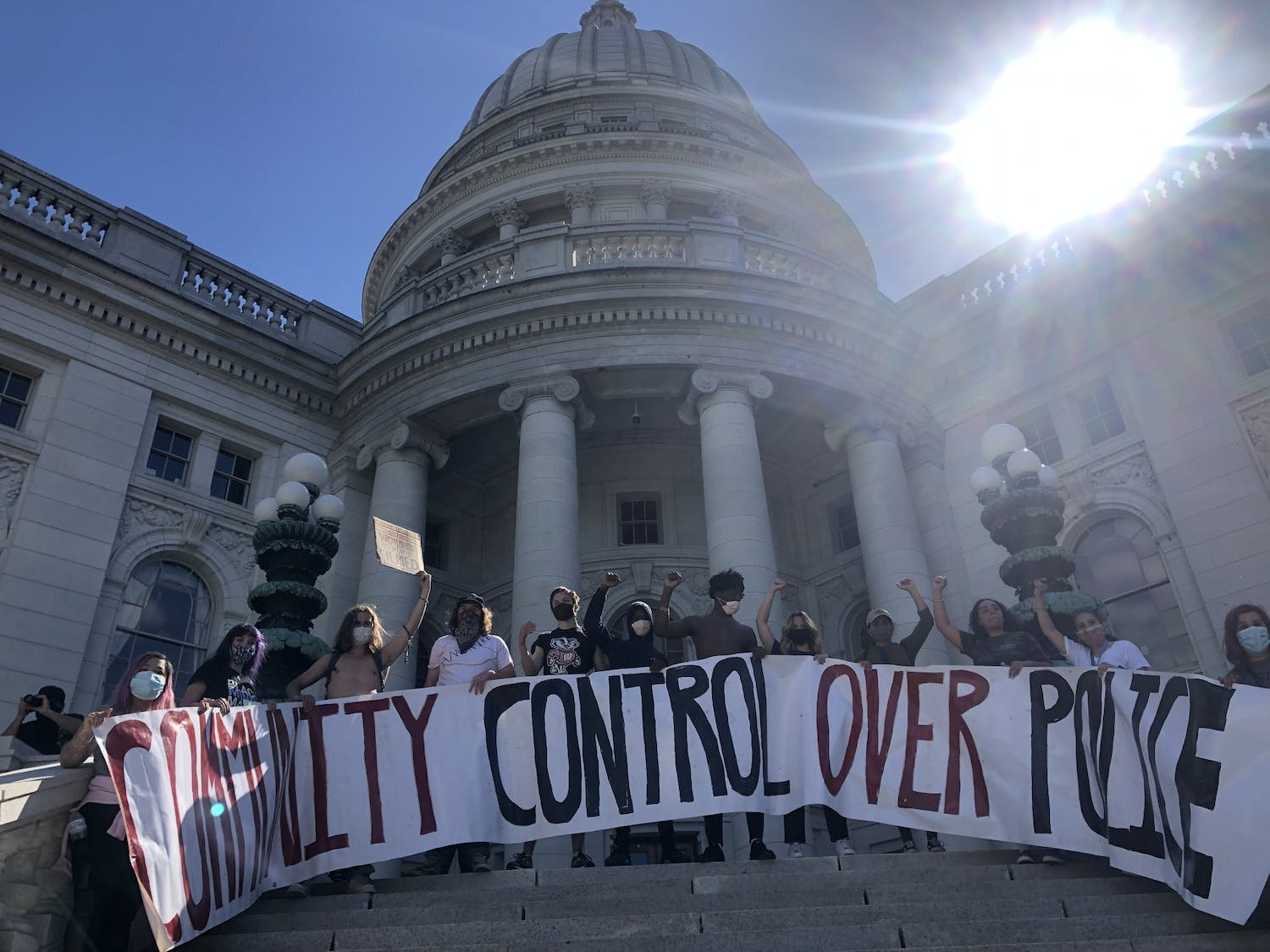 Peaceful protesters protest racial inequality in front of the Wisconsin State Capitol