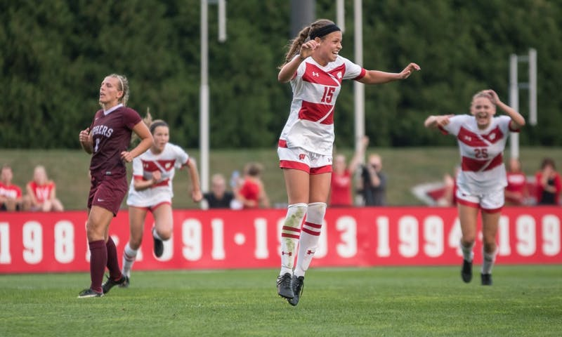 Senior forward Dani Rhodes scored Wisconsin's first goal Sunday night, in a dominant performance over in-state rivals Green Bay.