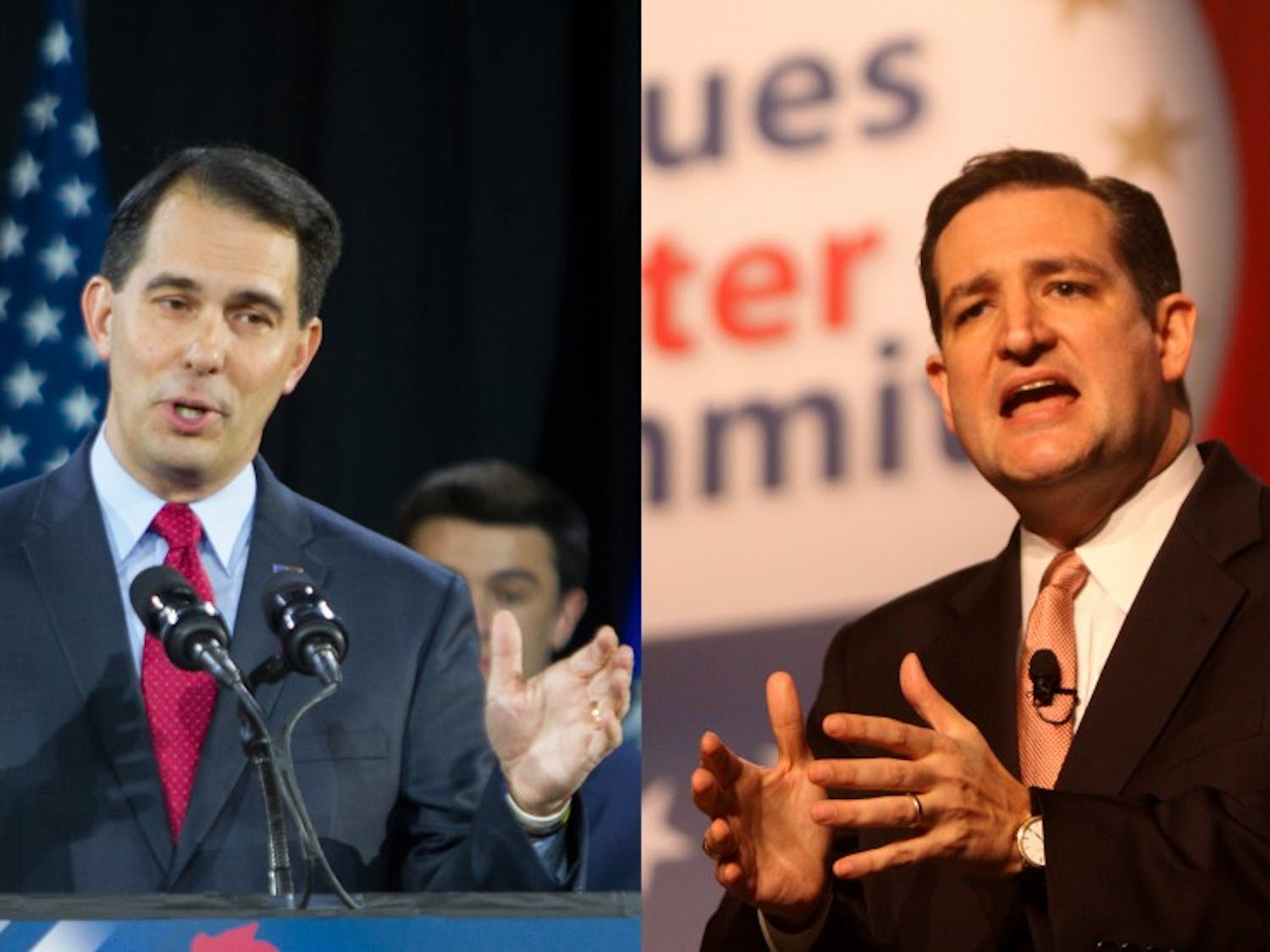 Wisconsin Gov. Scott Walker (left) is appearing in a new TVad supporting Ted Cruz for president.