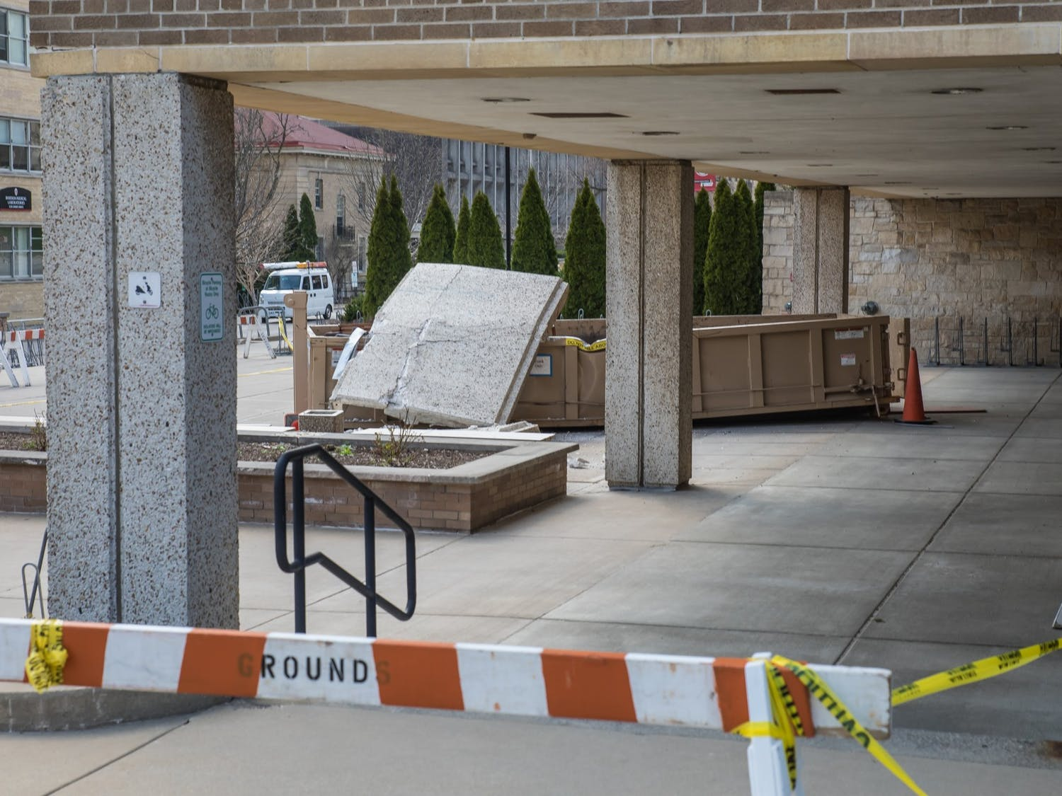 Photo of a concrete slab that fell off of Van Hise Hall.