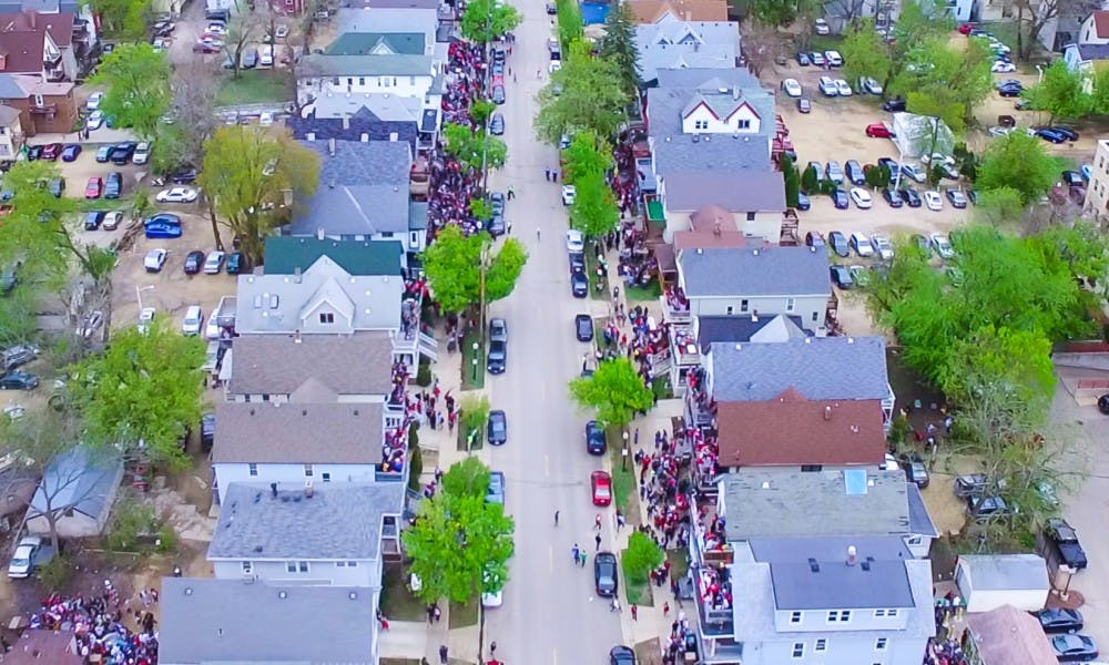 """The Madison Police Department said most participants who attended the Mifflin Street Block Party this weekend were """"well-behaved."""""""