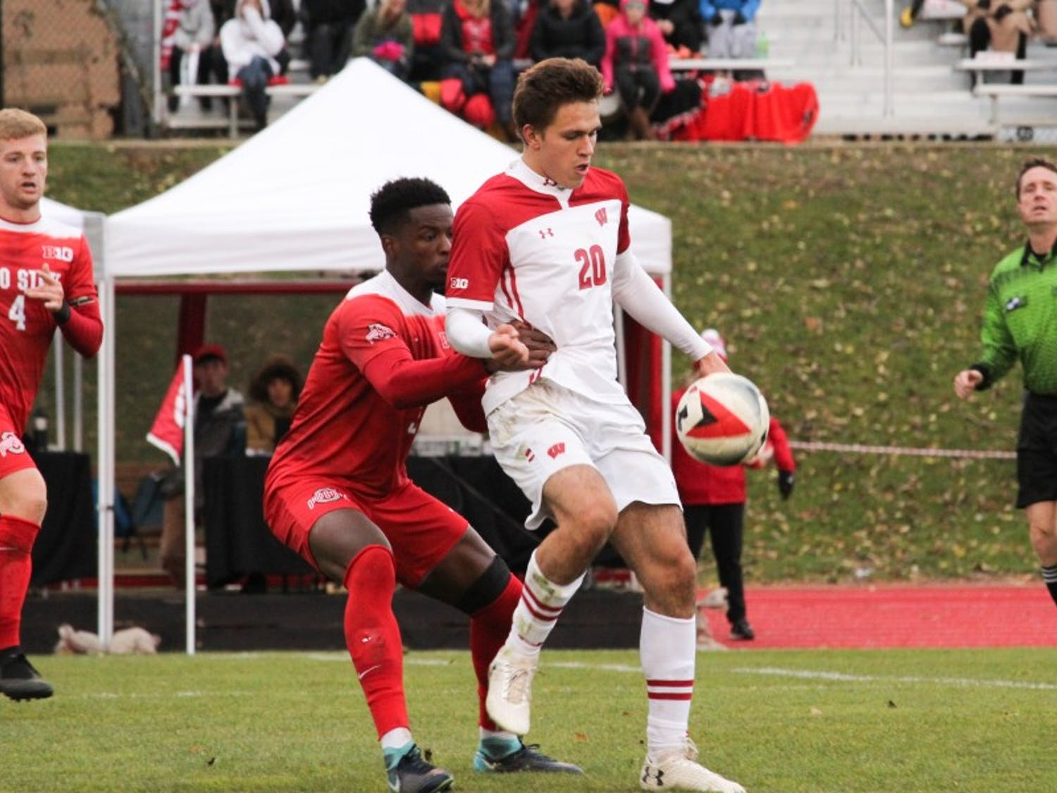 Freshman forward Noah Melick scored twice in the Badgers' 6-3 win over Rutgers as they advanced to the Big Ten Tournament semifinals.