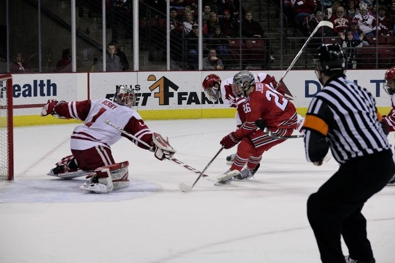 Ohio State forward Mason Jobst scored eight points in four games against Wisconsin last year, including a pair of game-winning goals.