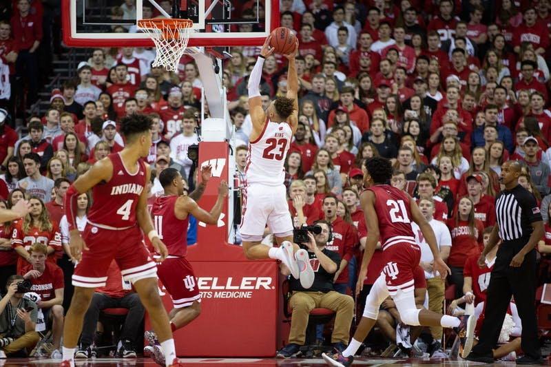 Kobe King flies in for the dunk against Big Ten foe Indiana in December.