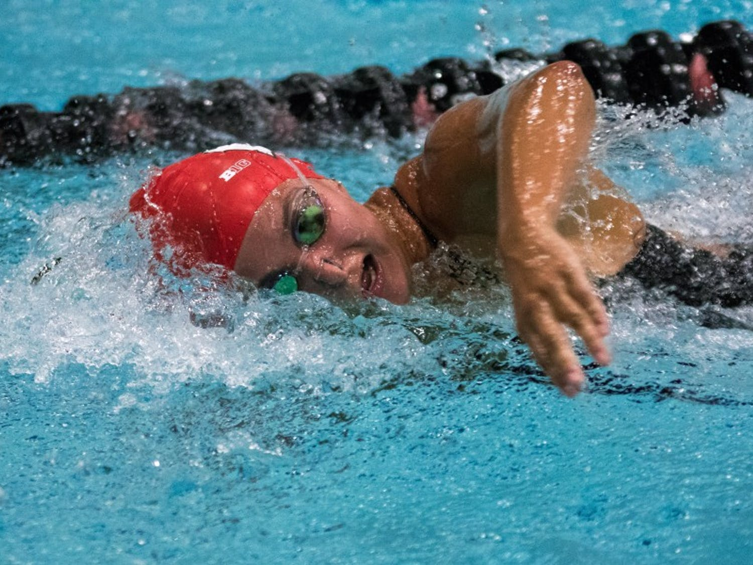 Emmy Sehmann was victorious in two events in the Badgers' loss to Georgia Thursday.