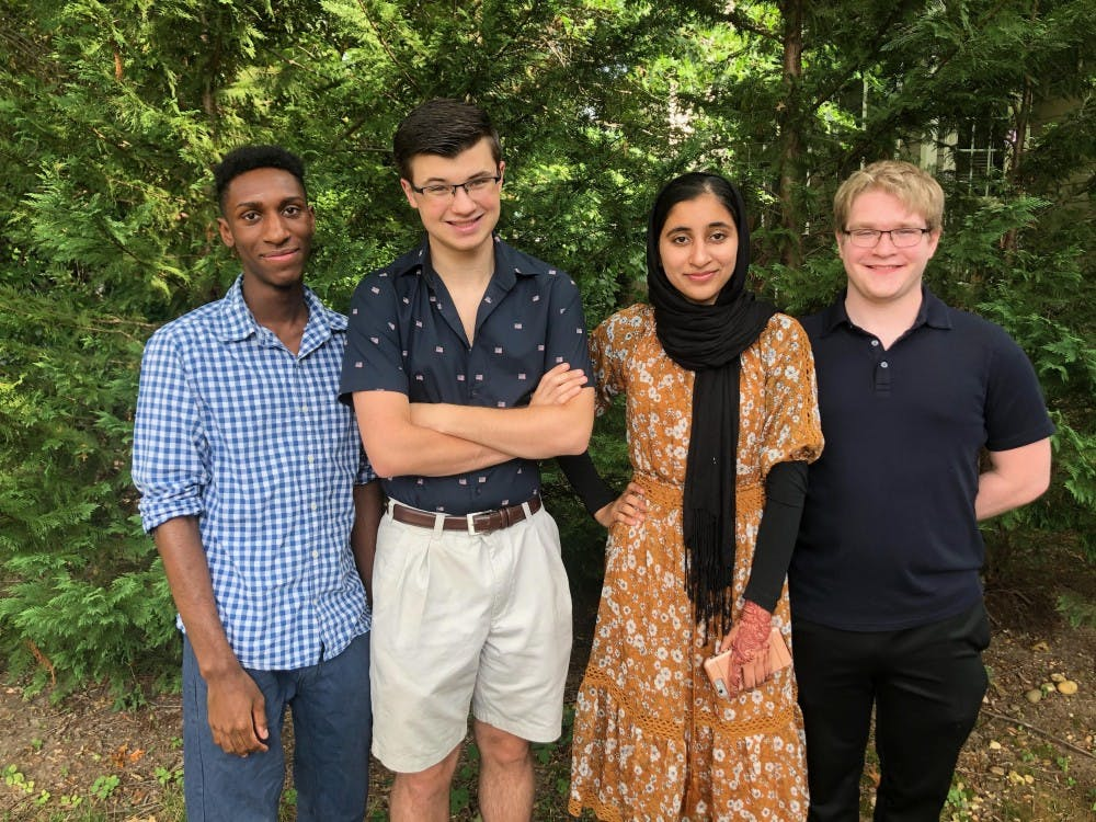 <p>From left to right, Ian Allum, Austin Houck, Qudsia Saeed and Josh Harris currently make up Homoglobin's team.&nbsp;</p>