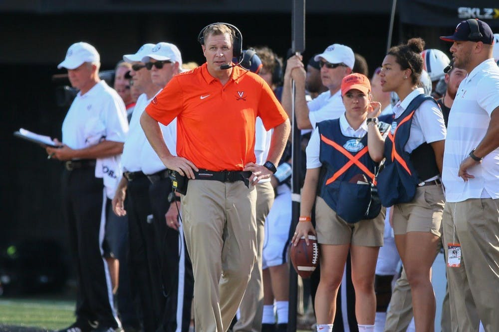 <p>Coach Bronco Mendenhall prepares for the upcoming football season as the University welcomes student-athletes back to Grounds.</p>