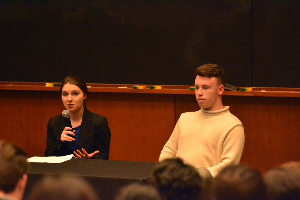<p>Student Council presidential candidate Ellen Yates (left) has spent $106.52 on her campaign while former candidate Hunter Wagenaar (right) spent no money before dropping out of the race.</p>