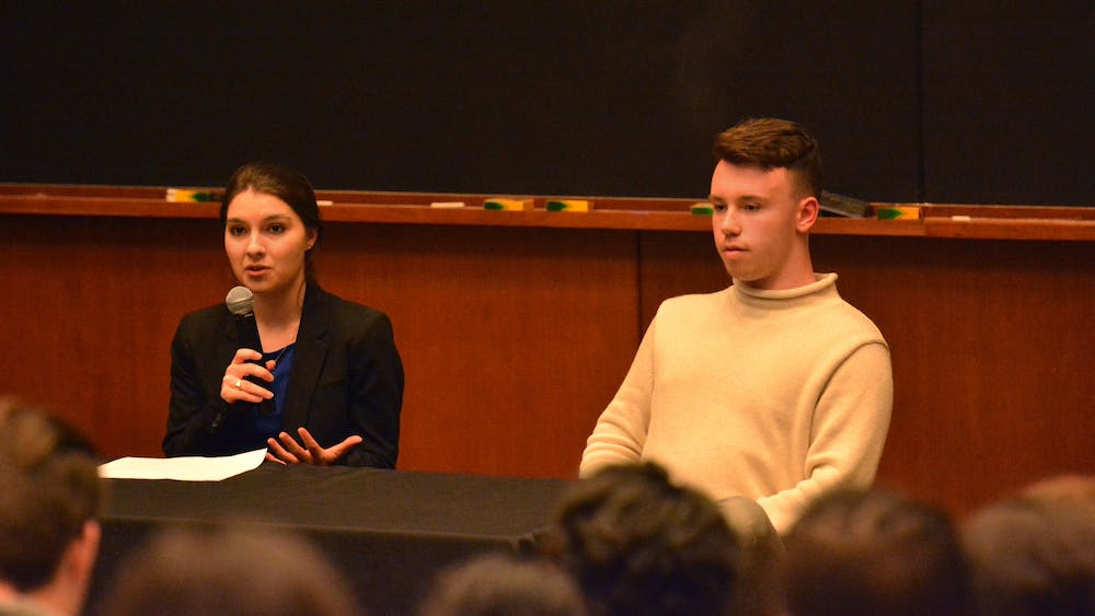Student Council presidential candidate Ellen Yates (left) has spent $106.52 on her campaign while former candidate Hunter Wagenaar (right) spent no money before dropping out of the race.