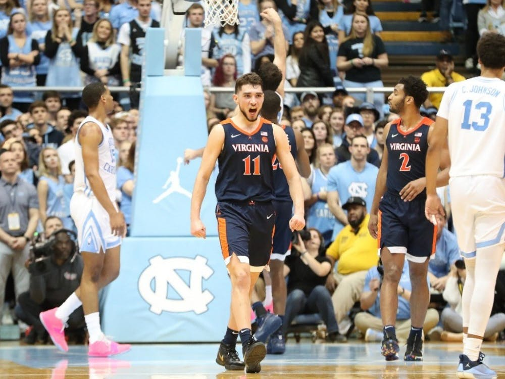 Junior guard Ty Jerome celebrates as the Cavaliers complete an impressive second-half comeback.