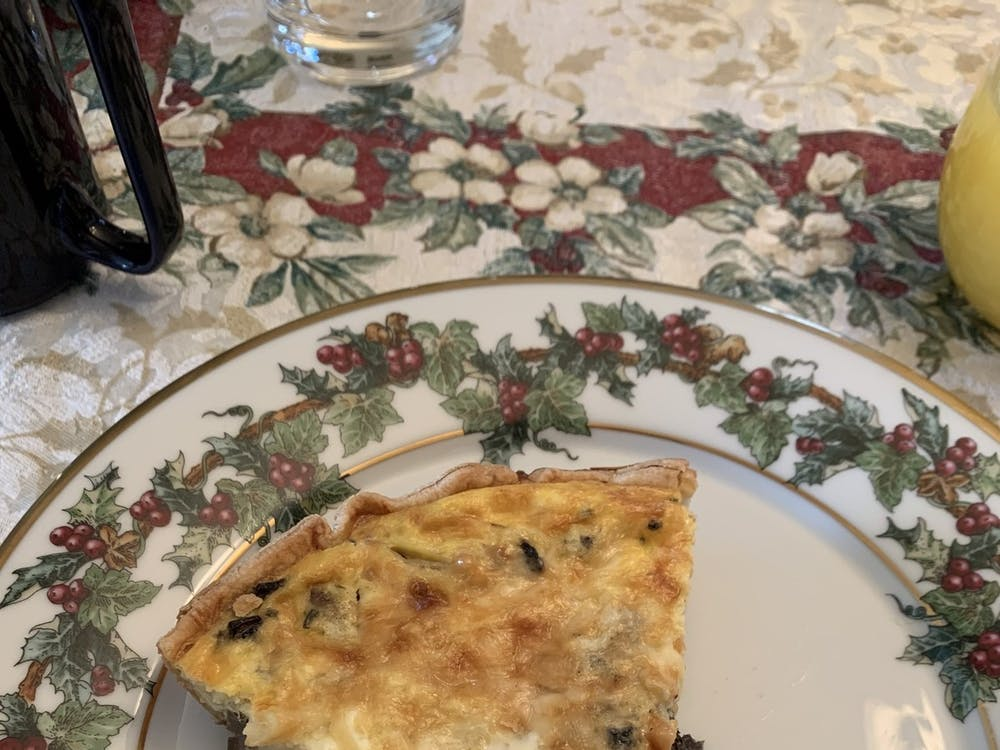 This is a vegetarian-friendly, mushroom quiche variant of the quiche Lorraine recipe featured in the article.