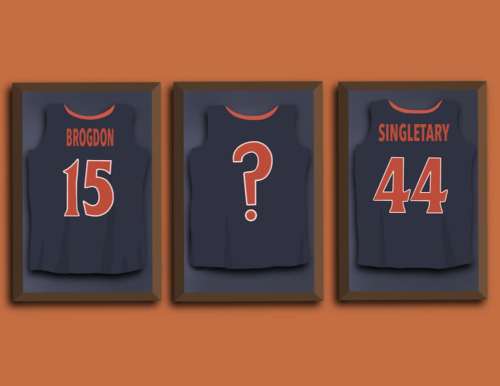 <p>Singletary and Brogdon had their jerseys raised up in 2009 and 2017, respectively.&nbsp;</p>