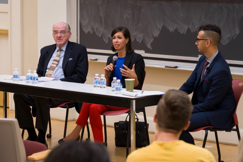 <p>Michael Copps and Jessica Rosenworcel encouraged students to speak up about media issues to create change.</p>