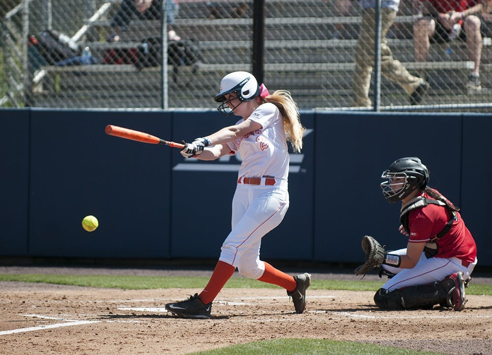 <p>Junior McKall Miller makes contact at the plate. After sweeping its double-header Thursday, Virginia dropped its next three games to finish 2-3 in its opening weekend.</p>