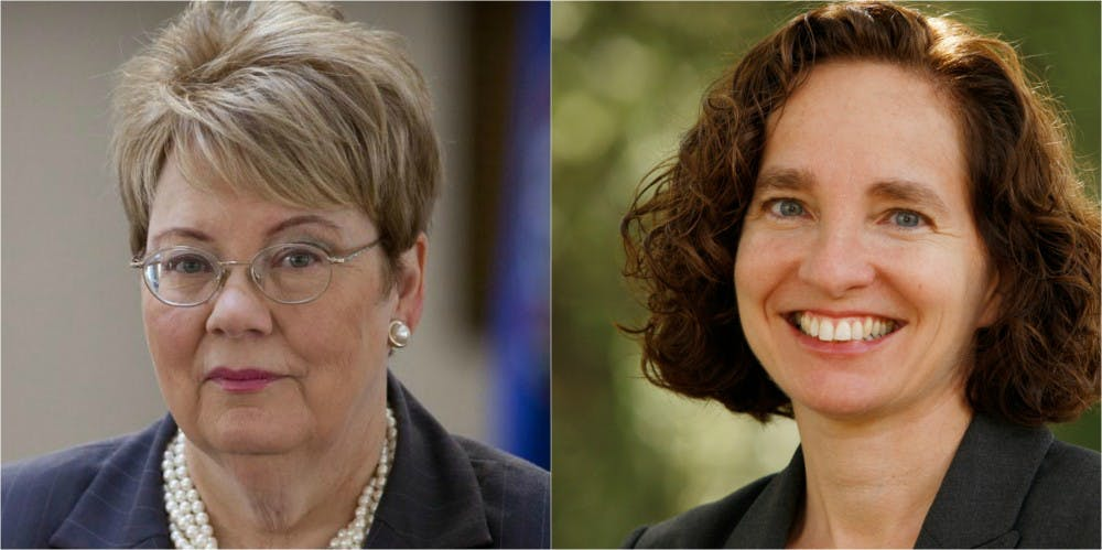 <p>University President Teresa Sullivan and Law School Dean Risa Goluboff&nbsp;</p>