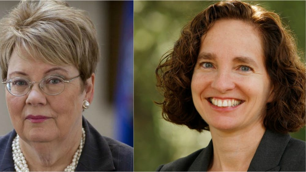 University President Teresa Sullivan and Law School Dean Risa Goluboff