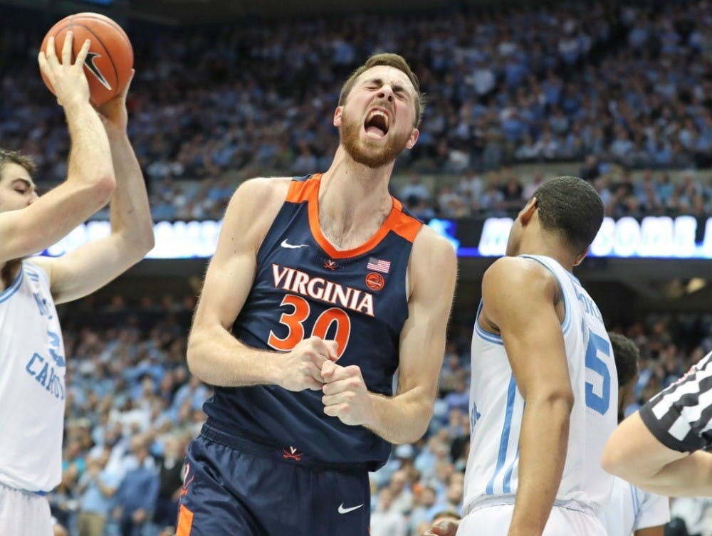 <p>Sophomore forward Jay Huff played key minutes down the stretch against North Carolina.</p>