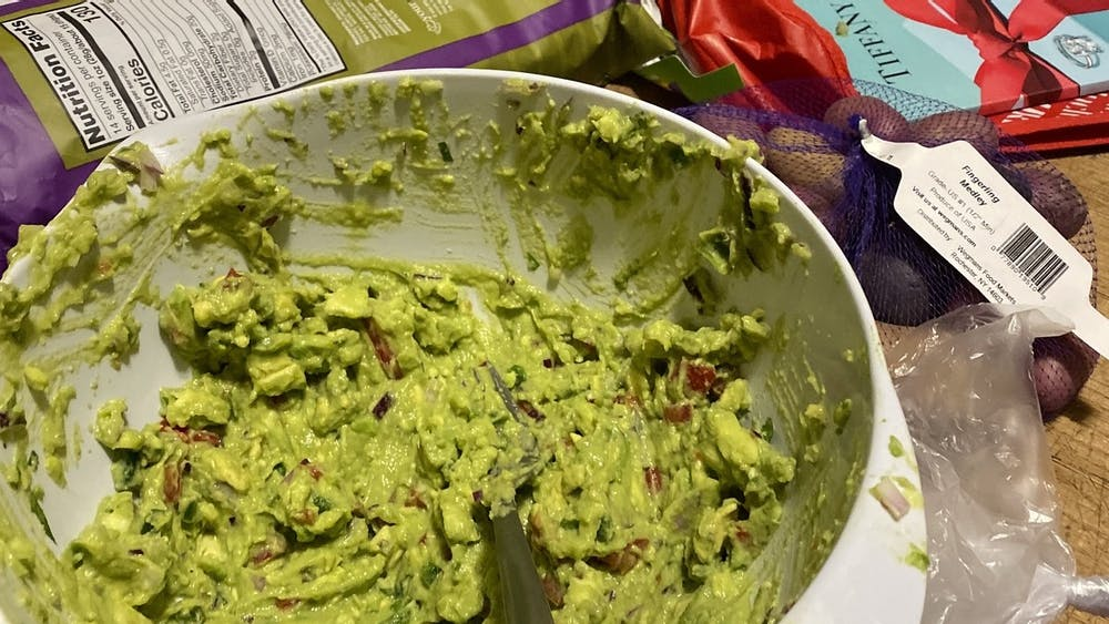 This guacamole is delicious with tortilla chips or on top of some rice and beans.