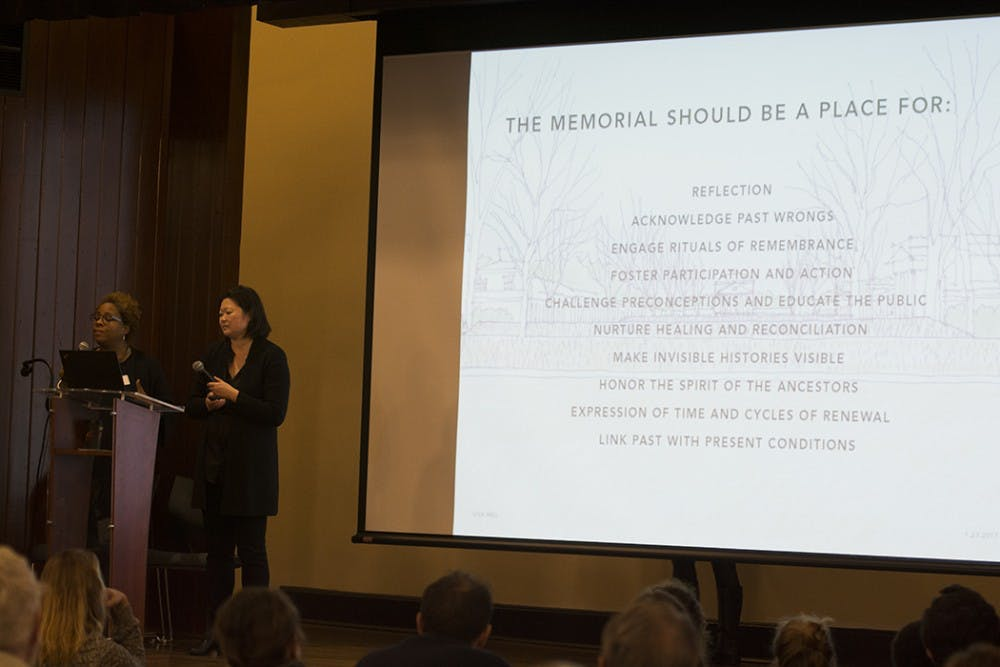 <p>Members of the design team shared potential memorial concepts and locations at the community meeting.&nbsp;&nbsp;</p>