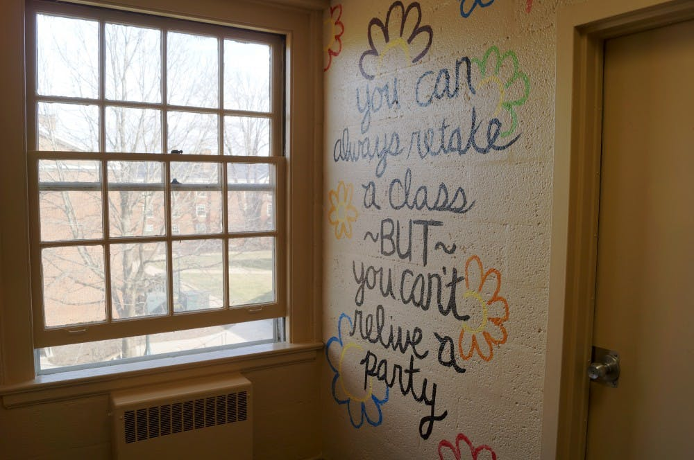 <p>Students have been given the opportunity to paint the hallways of Old Dorms before renovations begin.</p>