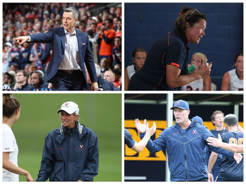 Tony Bennett (top left), Michele Madison (top right), Julie Myers (bottom left) and George Gelnovatch (bottom right) are just a few of the many coaches who have achieved historic results at Virginia.