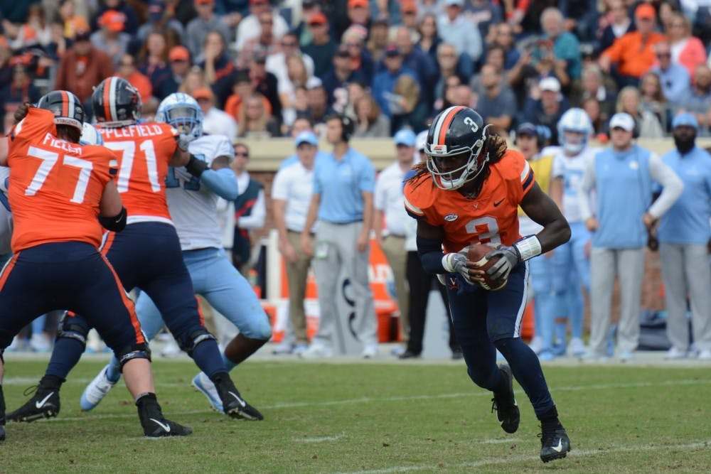 <p>Junior quarterback Bryce Perkins has been the key to Virginia's success throughout this year.</p>