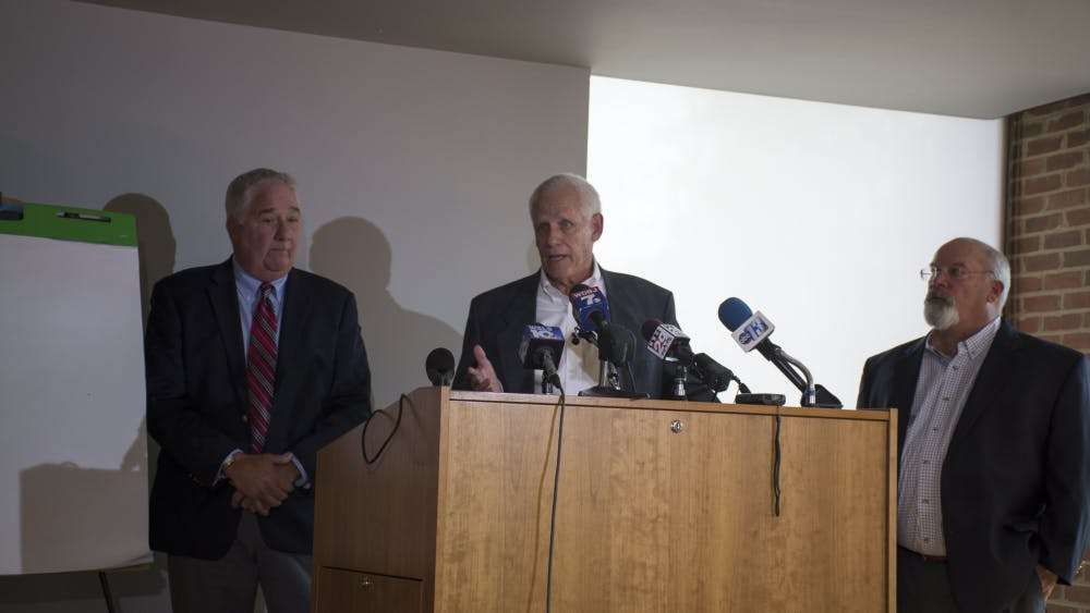 "McClintock (left), Harding (middle) and Hudson (right) held the press conference to assert that Soering is ""way beyond a reasonable doubt"" not guilty of the 1985 murders of Derek and Nancy Haysom."
