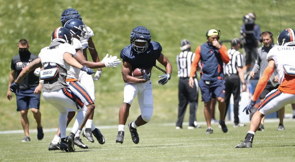 <p>Freshman running back Amaad Foston — an early enrollee for the Cavaliers — impressed many with his pass catching abilities Saturday.</p>