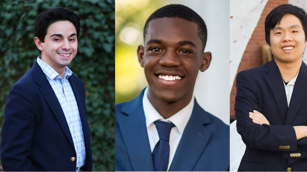 Student Council presidential candidates (from left): Alex Cintron, Jalon Daniels, Eddie Lin.