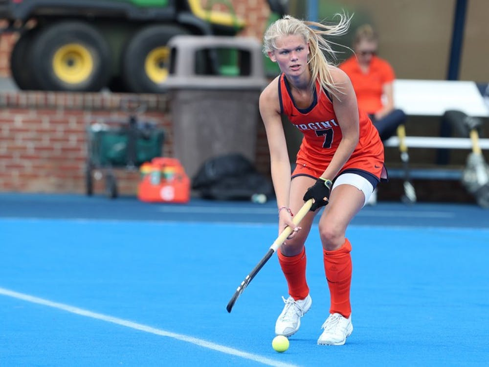 Freshman back Cato Geusgens is one of three Dutch players on the field hockey team.