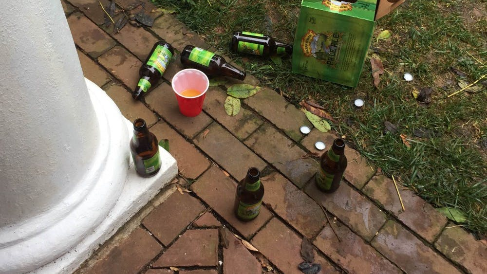 Leftover alcohol from other tailgates on the Lawn on the same day.