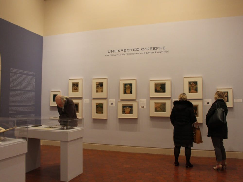"""""""Unexpected O'Keeffe: The Virginia Watercolors and Later Paintings,"""" an exhibit displaying some of the artist's lesser-known works, will be on display at the Fralin Museum of Art through Jan. 27, 2019."""