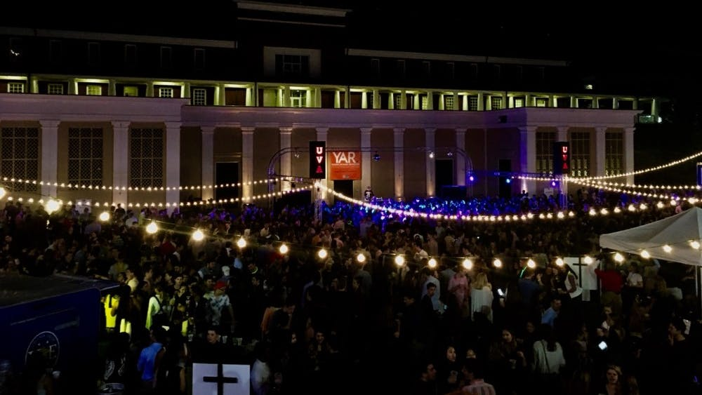 The amphitheater was decked out with string lights for the Young Alumni Reunion gathering.