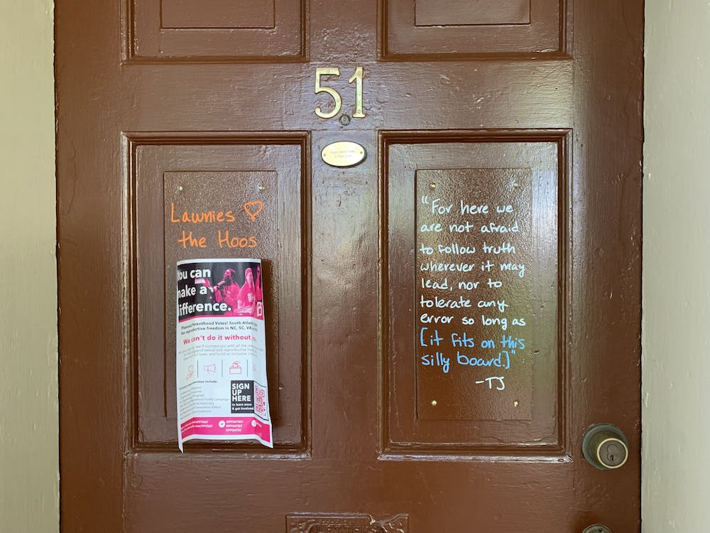 """<p>Lawn residents are <a href=""""https://www.cavalierdaily.com/article/2021/03/u-va-revises-lawn-room-policy-to-restrict-signage-permitted-on-doors"""">limited</a> to signage within the four corners of the boards on their doors, which is sometimes smaller than the size of a standard piece of paper.</p>"""