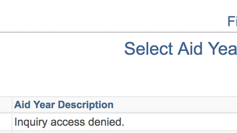 """Until financial aid awards are available on students' SIS accounts, they receive the message """"Inquiry access denied."""""""