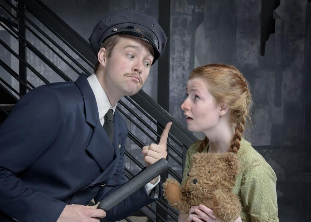 ae-Urinetown -Joel Chroscinski as Officer Lockstock and Peyton Evans as Little Sally - Courtesy Mich