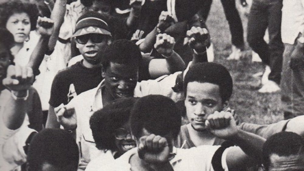 Students at a rally in the early 1980s.