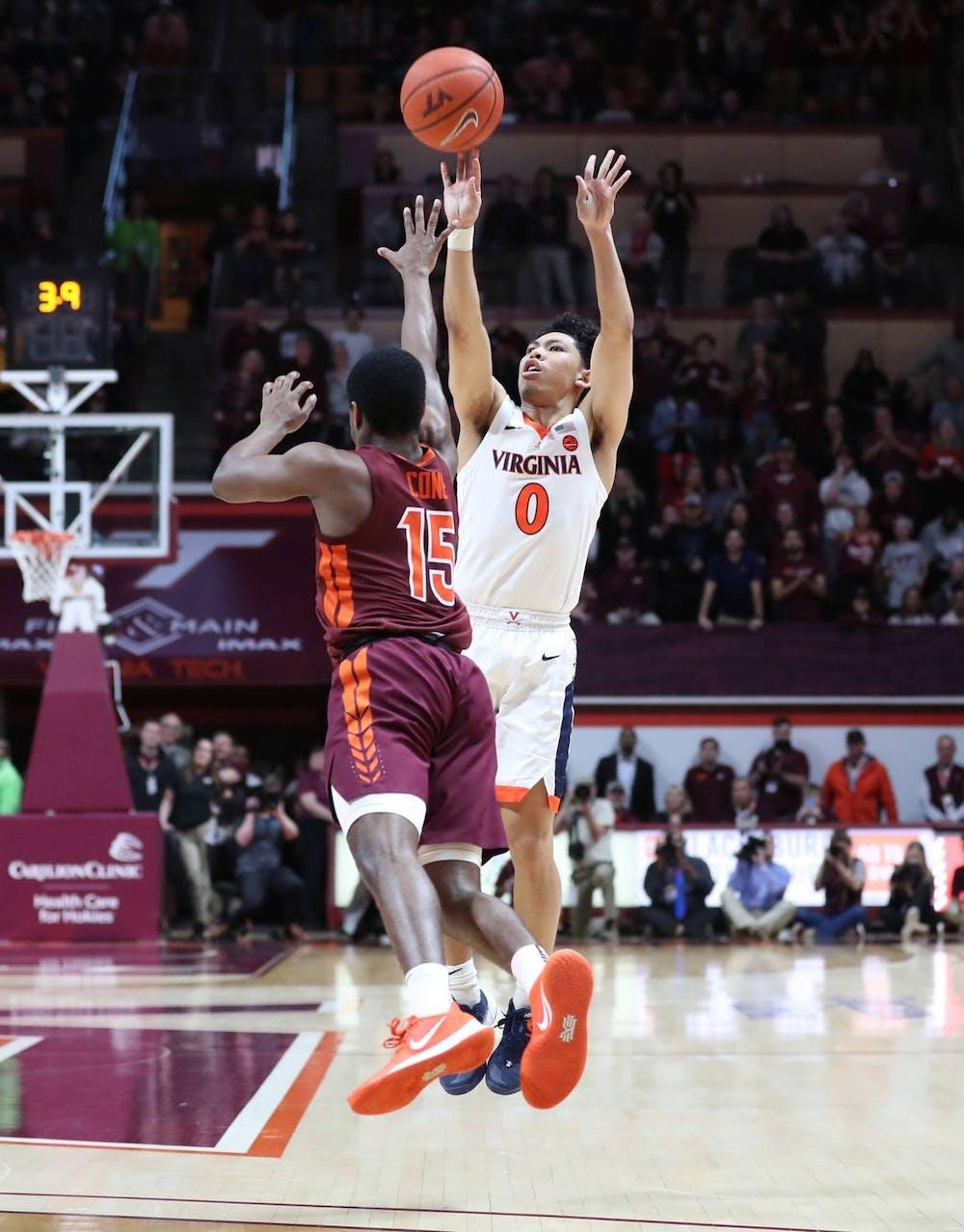 <p>Junior guard Kihei Clark shoots the game-winning three-pointer to beat Virginia Tech in Blacksburg last season</p>