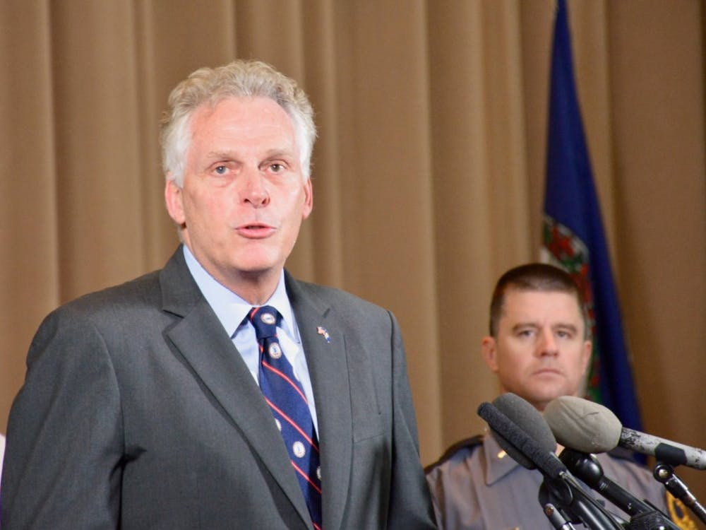 Gov. Terry McAuliffe spoke at a press conference with local leaders Saturday evening.