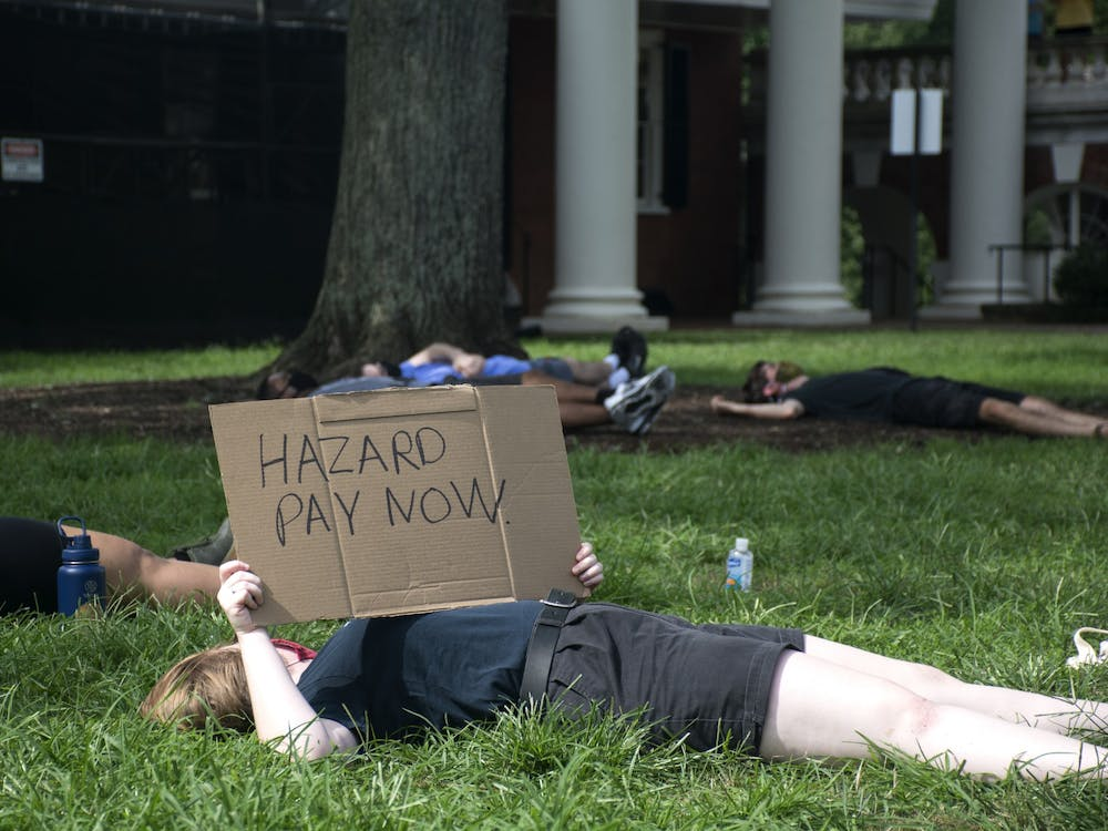 Die-In held on U.Va. Lawn to protest on-Grounds instruction (Photos by Emma Klein | The Cavalier Daily)