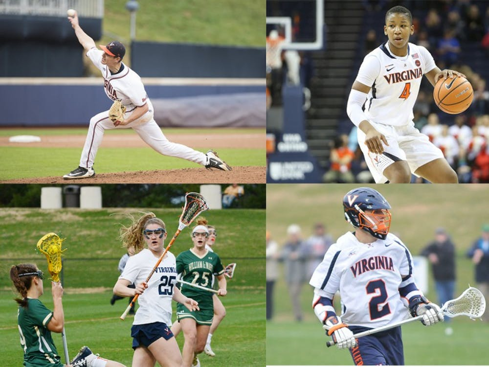 Junior starting pitcher Evan Sperling (top left), sophomore guard Dominique Toussaint (top right), sophomore midfielder Sammy Mueller (bottom left) and sophomore attack Michael Kraus (bottom right) have been crucial to their teams' performances.